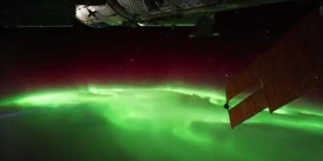 Unika bilder: Så här ser norrskenet ut från rymden!