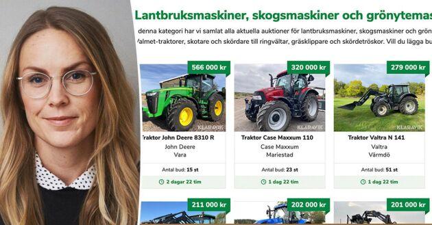 Nätauktionerna för begagnade lantbruksmaskiner fortsätter att växa. Karin Malmberg är marknadschef på Klaravik som i fjol ökade sin försäljning med 60 procent.