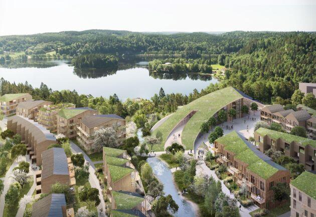 Med 900 bostäder blir Wendelstrand i Mölnlycke ett av Europas största träbyggprojekt.