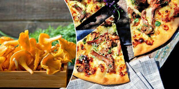 Dinkelpizza med färska kantareller och smakrik ostkräm