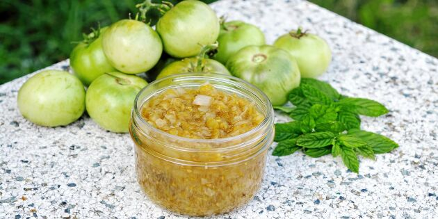 Chutney på gröna tomater – med smak av ingefära och kanel