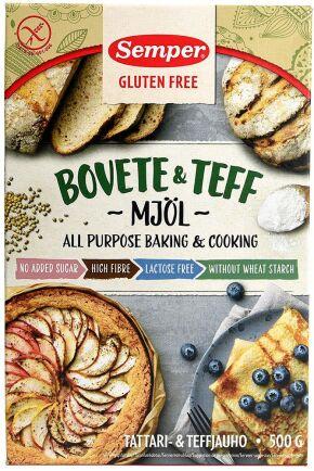 Femma på matbluffslistan 2019 ligger Sempers 'Gluten free Bovete & Teff mjöl'.