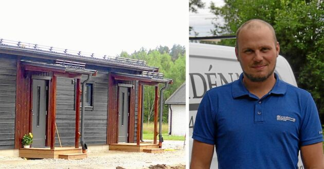 33-årige byggherren - och numera hyresvärden Christoffer Iden framför sina nybyggda hyreslägenheter i Gnarp.