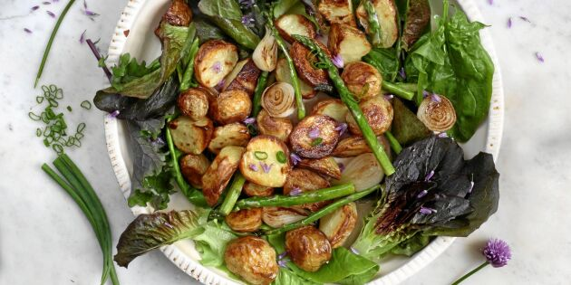 Rostad potatis med sparris, sardeller & kapris
