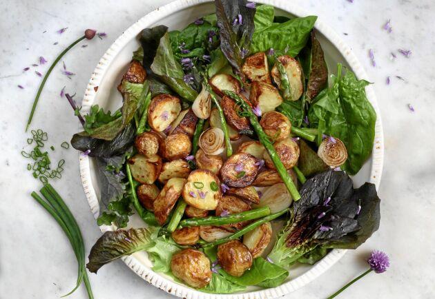 Frasigt rostad potatis toppad med en grön salsasås.