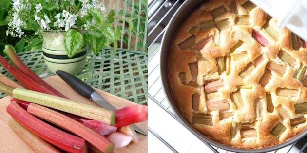 Laga kalorisnål rabarberkaka med vaniljkvarg