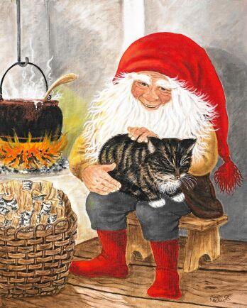 Nostalgiskt julmys med glad tomte och spinnande katt.