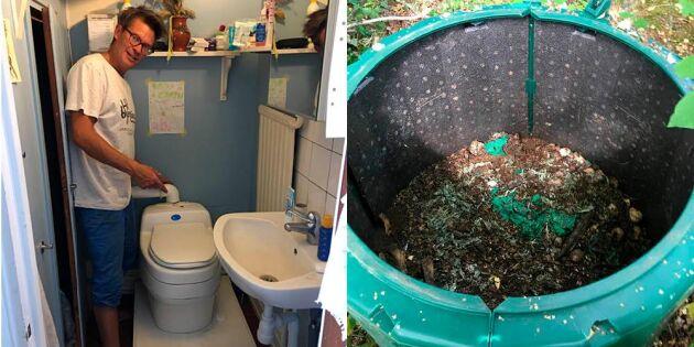 Miljövänlig toalett ger näring åt trädgården