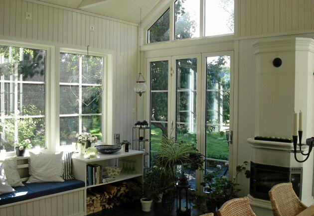 Tanken med uterummet var från början att kunna få känslan av att sitta utomhus även en regnig dag.