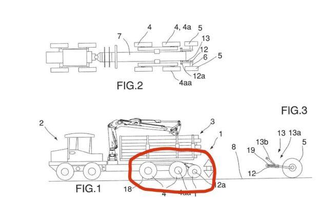 Extrahjul. Komatsu Forest har nyligen fått patent godkänt på extrahjul som monteras bakom skotaren och kopplas ihop med hjulparet framför med band. Källa: Patent- och registreringsverket