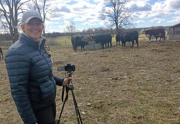 Signe Lennartsdotter filmar djuren som ska säljas på nätauktionen.