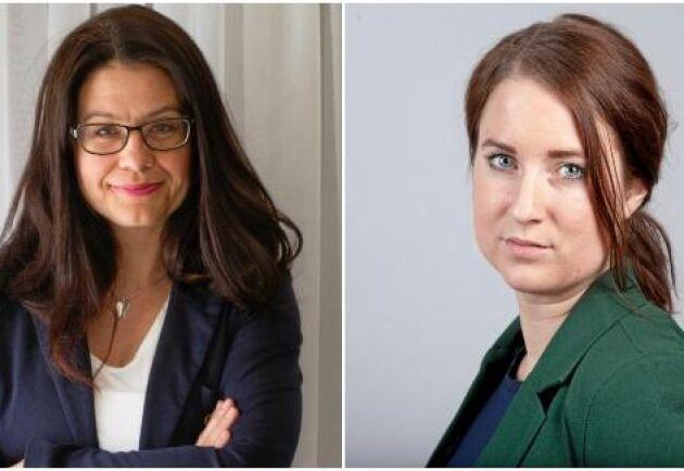 Helena Lindahl (C), riksdagsledamot och Emma Wiesner (C), kandidat till Europaparlamentet.