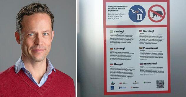 Karl Ståhl är biträdande statsepizootolog på SVA. Trafikverket har börjat informera på rastplatser om afrikansk svinpest.