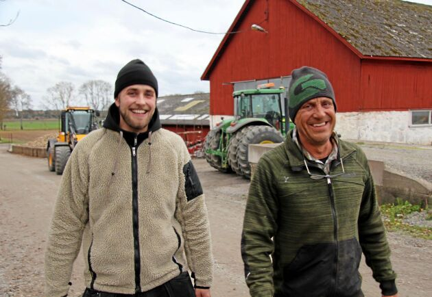 Joacim Rickling driver lantbruket tillsammans med sin pappa Jan (bilden) och storebror.