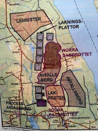 Karta över området i Oviken i Jämtland.