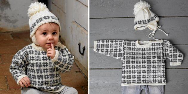 Mönsterstickad tröja och mössa i mjuk merinoull värmer i vinter.