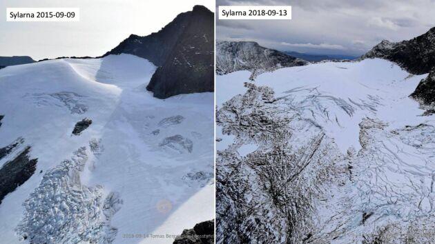 Den vänstra bilden från 2015 visar en hel Sylglaciär medan den högra, tagen i år, visar på stora sprickor.
