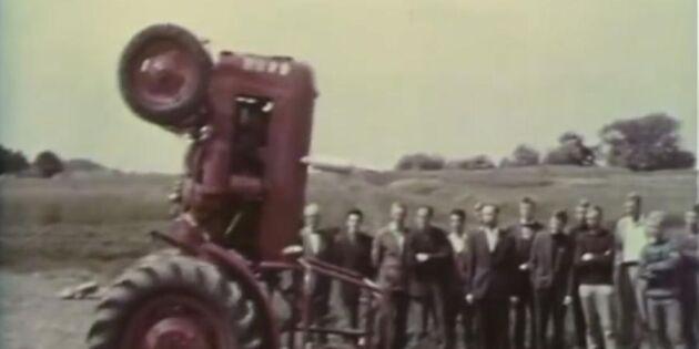Varning: så här ska man inte köra traktor