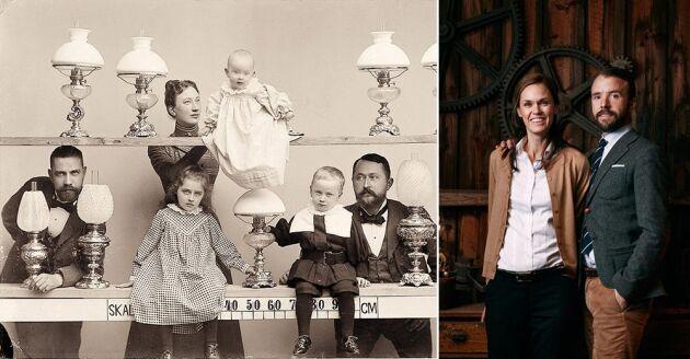 Familjeporträtt då och nu. Till höger Katarina och Valdemar Skantzes.