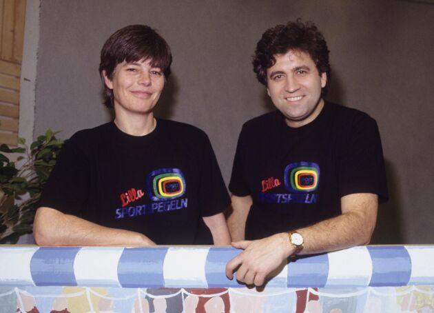 Programledarna Pia Erlandsson och Artur Ringart, 1990.