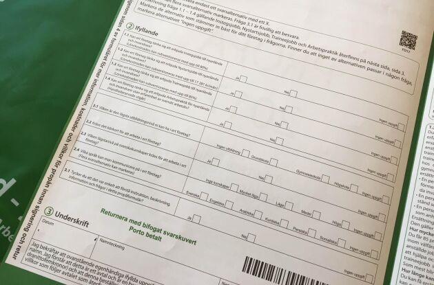 Vid första anblicken kan formuläret tolkas som en enkät.