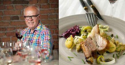 Håkan Larsson bjuder på glaserade revbensspjäll med tysk potatissallad och ett glas kryddigt rött. Underbart gott!
