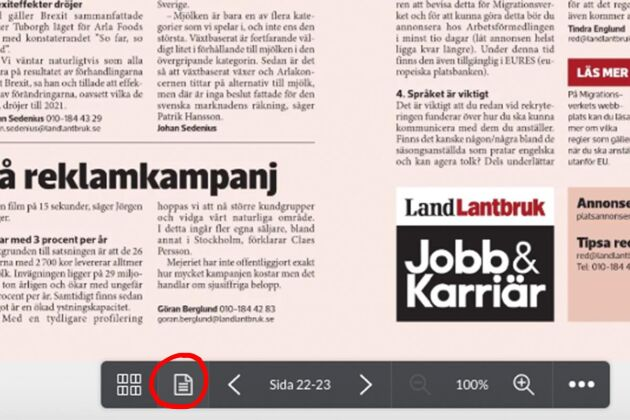 Den inringade tidningssymbolen tar dig till det läsvänliga användarläget i e-tidningen.