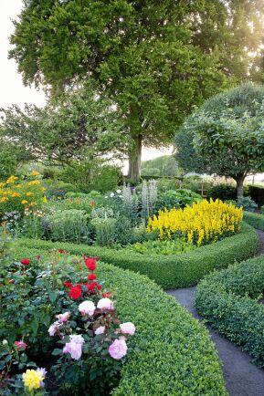 Mellan buxbomshäckarna som ramar in alla perennrabatter, ringlar sig gångarna fram och bjuder på lustfylld trädgårdspromenad.