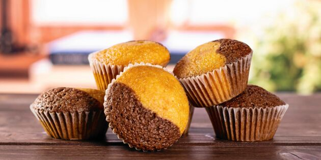 Tigermuffins med vaniljsocker och kakao