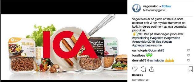 Vegovision är glada över att ha Ica som sponsor.