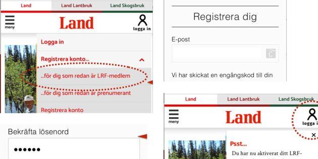 LRF-medlem! Så loggar du in på nya Land-sajterna