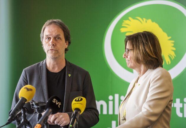 Pär Holmgren på Miljöpartiets kongress i Örebro 2019, tillsammans med språkröret Isabella Lövin.
