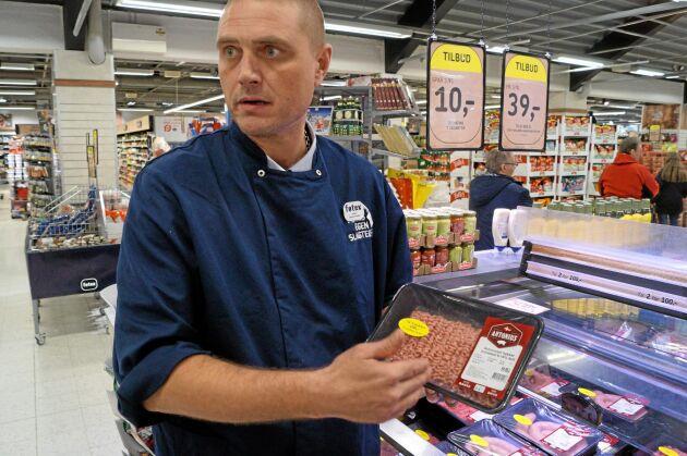 Jesper Thorlak, slaktarmästare i Føtexbutiken i Vejle.