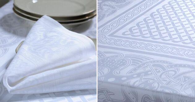 Vita bomullsduken är så nära en klassisk linneduk du kan komma utan att behöva mangla. Hög kvalitet ger den lyster och gör den enkel att stryka.