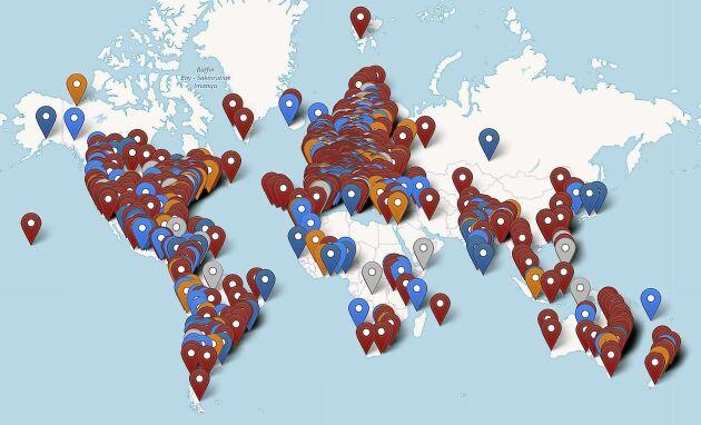 """Grafik över alla medverkande platser i """"Fridays for Future"""", skolstrejk för klimatet."""