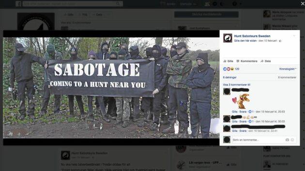 Aktivister från Hunt Saboteurs Sweden poserar med pixlade ansikten på Facebook. I februari störde de jakthundar på Gotland. En av deltagarna var den tidigare dömde 35-åringen från Västergötland.