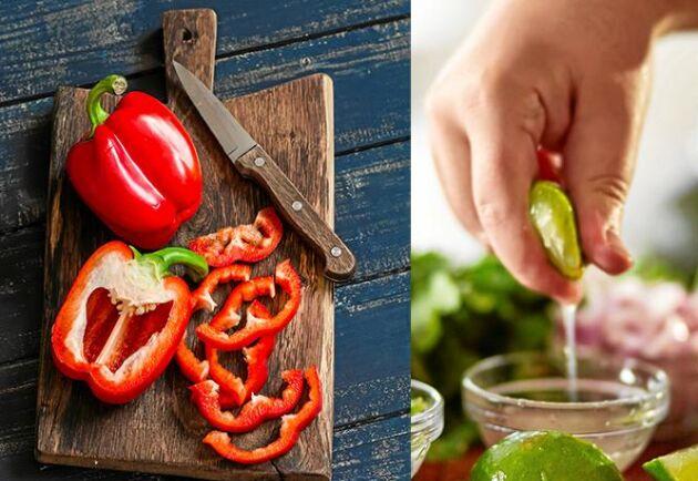 Syrad paprika är ett gott tillbehör som går supersnabbt att göra. Strimlar du paprikan riktigt fint så blir resultatet bäst.