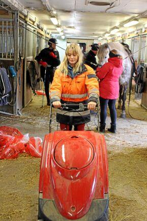 Sopmaskinen förenklar stallarbetet och minskar dammet i stallet.