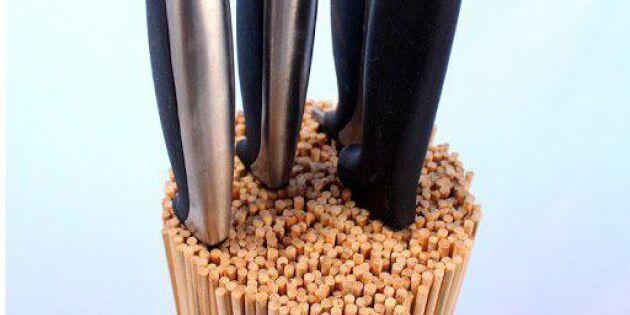 Skapa pinnigt knivställ av grillpinnar
