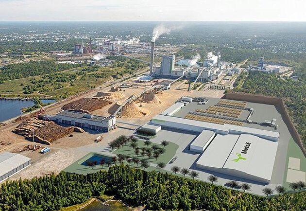 Datoranimering av hur Metsäs nya sågverk, i förgrunden, I Rauma ska se ut när det tas i bruk 2022.