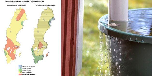 Grundvattennivåerna är på sina håll mycket under de normala för årstiden.
