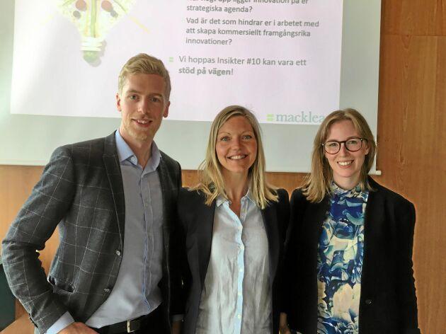 Bakom rapporten från Macklean står konsulterna Filip Lundin, Wictoria Alvarsdotter och Tove Lindgren.