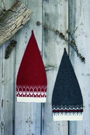 Välj rött eller grått garn till mössan.
