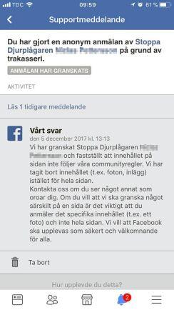 Så här svarar Facebook på anmälan.