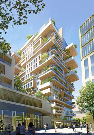 Hyperion i Bordeaux är byggd i KL-trä runt en betongkärna med trapphus och hissar. Även de tre nedersta av de 16 våningarna är i betong och med sina 55 meter blir det den högsta träbyggnaden i Frankrike.