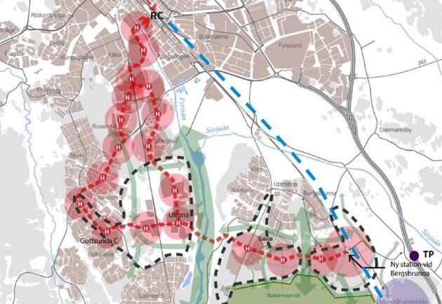 Områden med svartstreckad linje är där kommunen ska tillskapa bostads- och arbetsplatsutvecklingen enligt avtalet med kommunen.