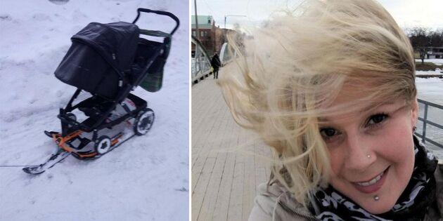 Elin tröttnade på snön - byggde om sin barnvagn