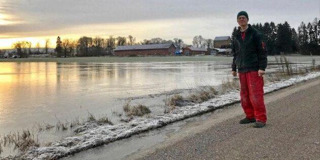 Höga vattenflöden svämmar över åkermarker