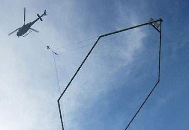 SGU letar vatten med helikopter.