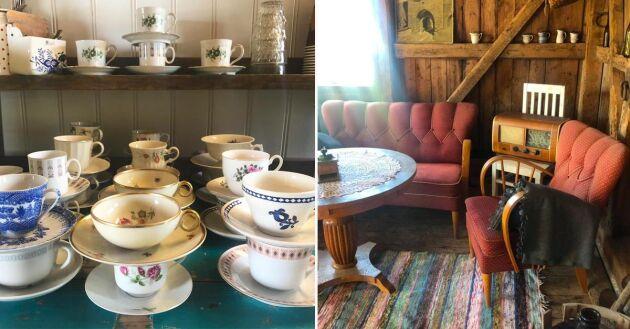 Kunderna passar på att ta en fika en det ombonade caféet som Ingela möblerat med antikviteter och loppisfynd.